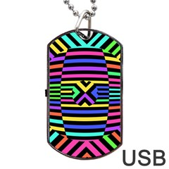 Optical Illusion Line Wave Chevron Rainbow Colorfull Dog Tag Usb Flash (one Side) by Mariart