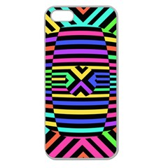 Optical Illusion Line Wave Chevron Rainbow Colorfull Apple Seamless Iphone 5 Case (clear) by Mariart