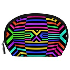 Optical Illusion Line Wave Chevron Rainbow Colorfull Accessory Pouches (large)  by Mariart
