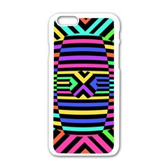 Optical Illusion Line Wave Chevron Rainbow Colorfull Apple Iphone 6/6s White Enamel Case by Mariart