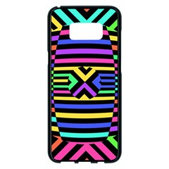 Optical Illusion Line Wave Chevron Rainbow Colorfull Samsung Galaxy S8 Plus Black Seamless Case by Mariart