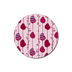 Original Tree Bird Leaf Flower Floral Pink Wave Chevron Blue Polka Dots Rubber Round Coaster (4 Pack)  by Mariart