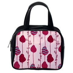 Original Tree Bird Leaf Flower Floral Pink Wave Chevron Blue Polka Dots Classic Handbags (one Side) by Mariart