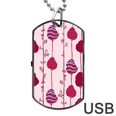 Original Tree Bird Leaf Flower Floral Pink Wave Chevron Blue Polka Dots Dog Tag Usb Flash (two Sides) by Mariart
