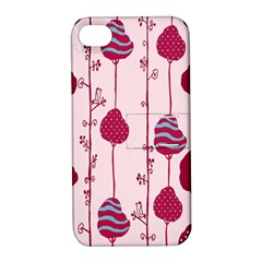 Original Tree Bird Leaf Flower Floral Pink Wave Chevron Blue Polka Dots Apple Iphone 4/4s Hardshell Case With Stand by Mariart