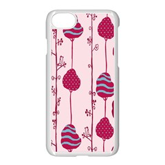 Original Tree Bird Leaf Flower Floral Pink Wave Chevron Blue Polka Dots Apple Iphone 7 Seamless Case (white) by Mariart