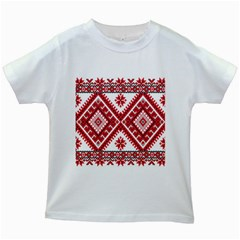 Model Traditional Draperie Line Red White Triangle Kids White T Shirts by Mariart