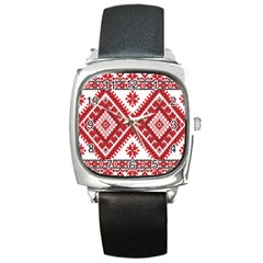 Model Traditional Draperie Line Red White Triangle Square Metal Watch by Mariart
