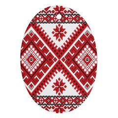 Model Traditional Draperie Line Red White Triangle Oval Ornament (two Sides) by Mariart