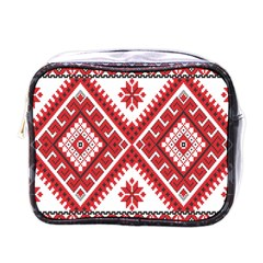 Model Traditional Draperie Line Red White Triangle Mini Toiletries Bags by Mariart