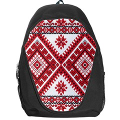 Model Traditional Draperie Line Red White Triangle Backpack Bag by Mariart