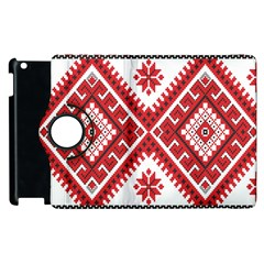 Model Traditional Draperie Line Red White Triangle Apple Ipad 3/4 Flip 360 Case