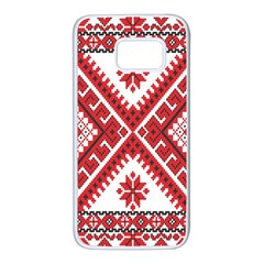 Model Traditional Draperie Line Red White Triangle Samsung Galaxy S7 White Seamless Case by Mariart