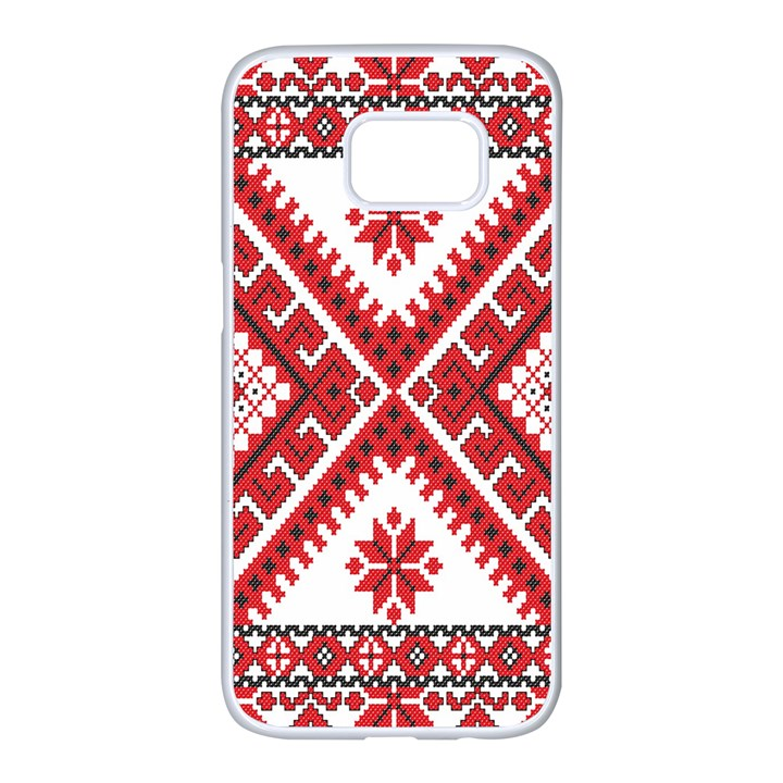 Model Traditional Draperie Line Red White Triangle Samsung Galaxy S7 edge White Seamless Case