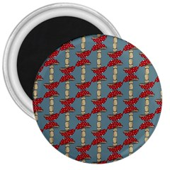 Mushroom Madness Red Grey Polka Dots 3  Magnets by Mariart