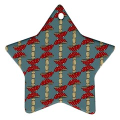 Mushroom Madness Red Grey Polka Dots Ornament (star) by Mariart