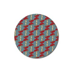 Mushroom Madness Red Grey Polka Dots Magnet 3  (round) by Mariart