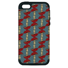 Mushroom Madness Red Grey Polka Dots Apple Iphone 5 Hardshell Case (pc+silicone) by Mariart