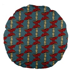 Mushroom Madness Red Grey Polka Dots Large 18  Premium Round Cushions by Mariart