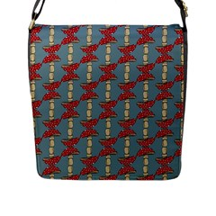 Mushroom Madness Red Grey Polka Dots Flap Messenger Bag (l)