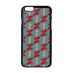 Mushroom Madness Red Grey Polka Dots Apple Iphone 6/6s Black Enamel Case by Mariart