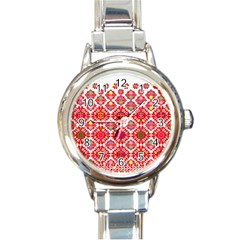 Plaid Red Star Flower Floral Fabric Round Italian Charm Watch by Mariart