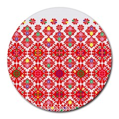 Plaid Red Star Flower Floral Fabric Round Mousepads by Mariart