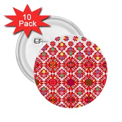 Plaid Red Star Flower Floral Fabric 2 25  Buttons (10 Pack)