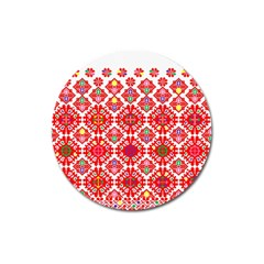 Plaid Red Star Flower Floral Fabric Magnet 3  (round) by Mariart