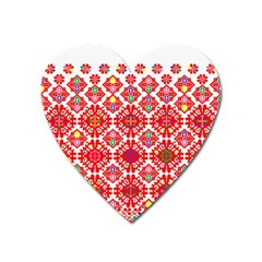 Plaid Red Star Flower Floral Fabric Heart Magnet by Mariart