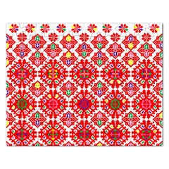 Plaid Red Star Flower Floral Fabric Rectangular Jigsaw Puzzl by Mariart