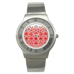 Plaid Red Star Flower Floral Fabric Stainless Steel Watch