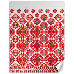 Plaid Red Star Flower Floral Fabric Canvas 12  X 16   by Mariart