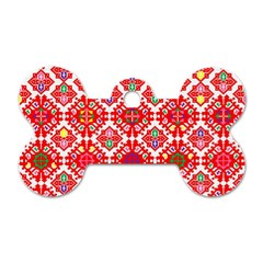 Plaid Red Star Flower Floral Fabric Dog Tag Bone (one Side) by Mariart