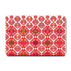Plaid Red Star Flower Floral Fabric Small Doormat