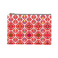 Plaid Red Star Flower Floral Fabric Cosmetic Bag (large)  by Mariart