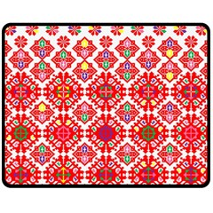Plaid Red Star Flower Floral Fabric Fleece Blanket (medium)  by Mariart