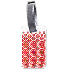 Plaid Red Star Flower Floral Fabric Luggage Tags (two Sides) by Mariart