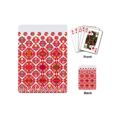 Plaid Red Star Flower Floral Fabric Playing Cards (mini)  by Mariart