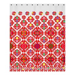 Plaid Red Star Flower Floral Fabric Shower Curtain 60  X 72  (medium)  by Mariart