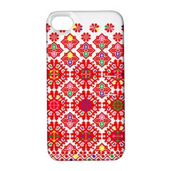 Plaid Red Star Flower Floral Fabric Apple Iphone 4/4s Hardshell Case With Stand by Mariart