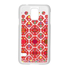 Plaid Red Star Flower Floral Fabric Samsung Galaxy S5 Case (white) by Mariart