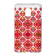 Plaid Red Star Flower Floral Fabric Galaxy Note Edge by Mariart