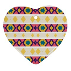 Rhombus And Stripes                            Ornament (heart) by LalyLauraFLM