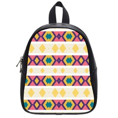Rhombus And Stripes                            School Bag (small) by LalyLauraFLM