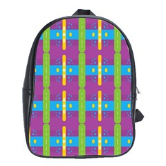 Stripes And Dots                           School Bag (large) by LalyLauraFLM