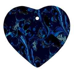 Pattern Butterfly Blue Stone Ornament (heart) by Mariart