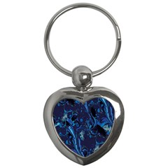 Pattern Butterfly Blue Stone Key Chains (heart)  by Mariart