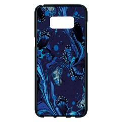 Pattern Butterfly Blue Stone Samsung Galaxy S8 Plus Black Seamless Case