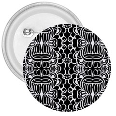 Psychedelic Pattern Flower Black 3  Buttons
